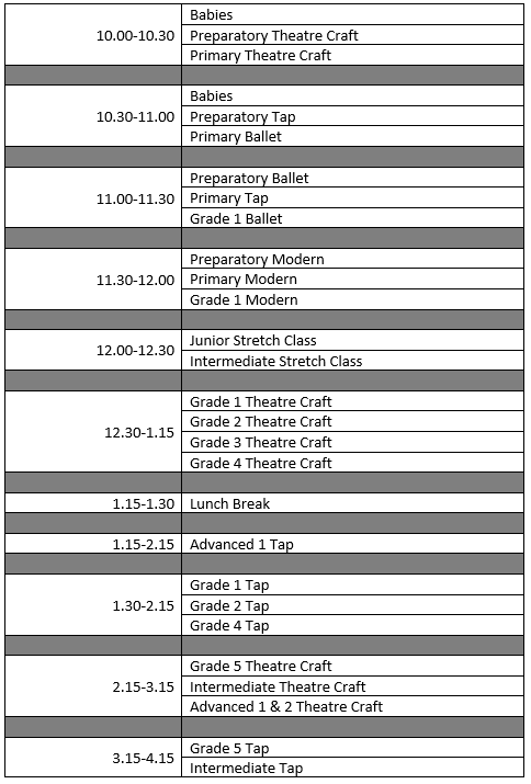 2018 September Saturday Timetable